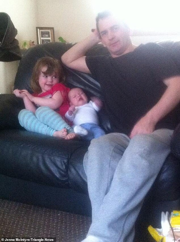 Doctors then transferred him to the GJNH in Clydebank, West Dunbartonshire, for specialist care when his condition deteriorated (pictured with Alfie and Eilidh before his heart attack)
