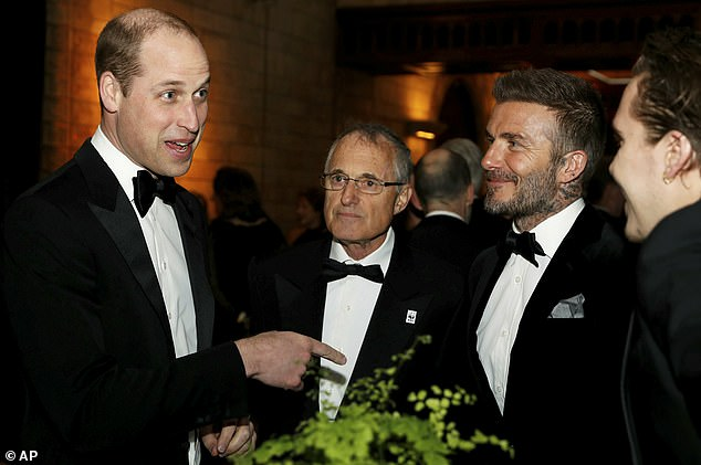 Prince William (left) was also at Thursday's premiere and he spoke to the Beckhams as well