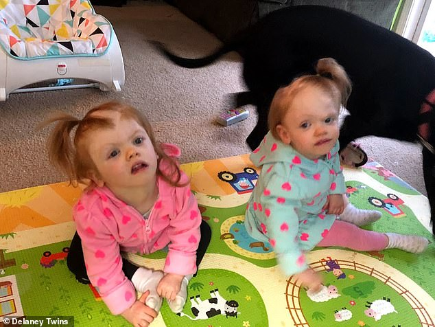 Today, the girls attend developmental therapy three times a week and have a home visit with the therapist once a week. Erin (right) is crawling and learned how to say 'Dada' while Abby (left) is developmentally behind her sister