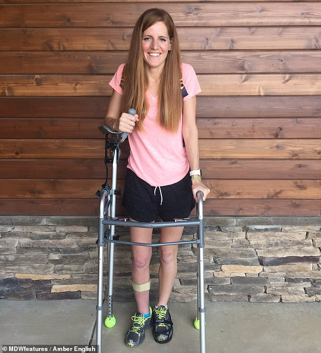Miss English smashed her pelvis and required 12 hours of surgery to rebuild it. She was reliant on a zimmer frame (pictured) for months during her rehab