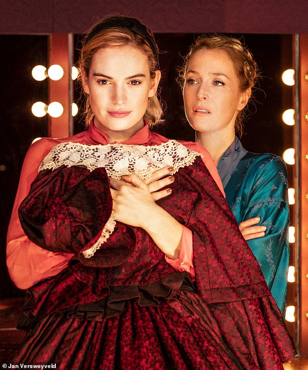 A chance to see Gillian Anderson (above with Lily James) shine as paranoid Broadway legend Margo Channing, as the play is broadcast to cinemas nationwide. Thu, ntlive.com