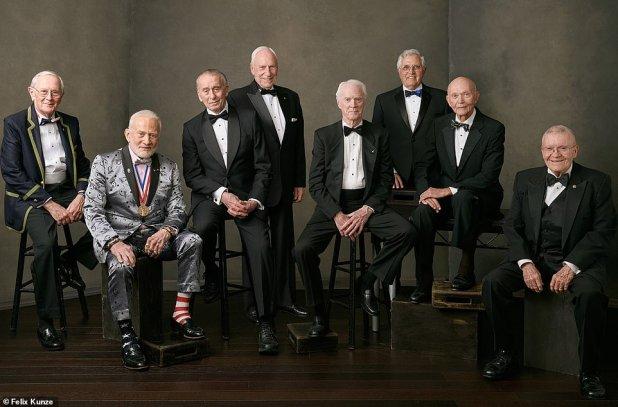 Aldrin stole the show at a recent meeting of astronauts involved in the Apollo space missions. From left to right: Charles Duke (Apollo 16), Buzz Aldrin (Apollo 11), Walter Cunningham (Apollo 7), Al Worden (Apollo 15), Rusty Schweickart (Apollo 9), Harrison Schmitt (Apollo 17), Michael Collins ( Apollo 11), Fred Haise (Apollo 13)