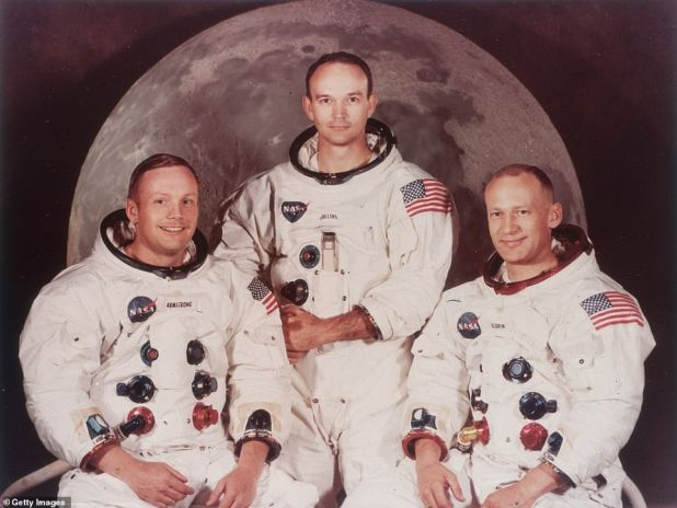Vice President Mike Pence announced that he intends to have another man on the moon by 2024, cutting NASA's timeline by half. Apollo 11 astronauts Neil Armstrong, Michael Collins and Edwin & # 39; Buzz & # 39; Aldrin are shown above