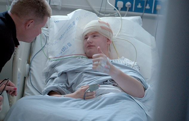 Cameron gives a thumbs up after completing his surgery. According to Dr Ughratdar, most patients can go home the following day - but Cameron had problems with his recovery meaning he couldn't speak properly for three weeks