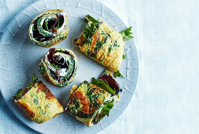 Egg and spinach omelette wrap: 325 calories per serving