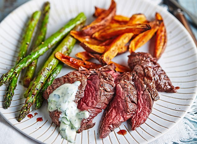 Steak and sweet potato chips with mustard sauce: 384 calories per serving
