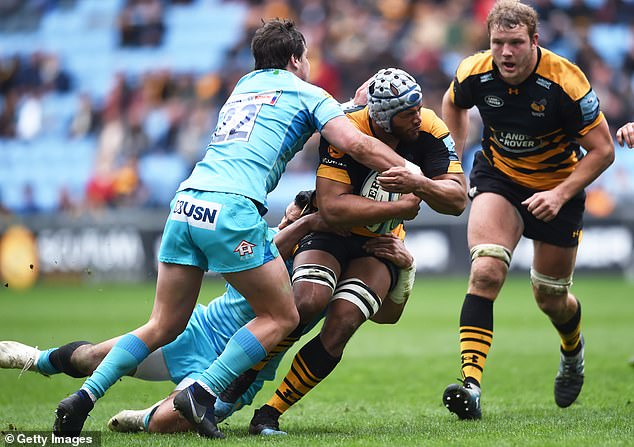 Nizaam Carr of Wasps is closed down during the Gallagher Premiership clash