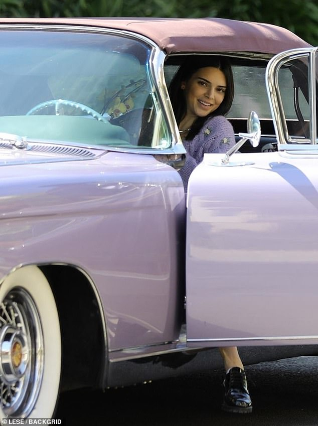 Vintage vehicle: The model's look was perfectly matched to her 50s era Eldorado Biarritz