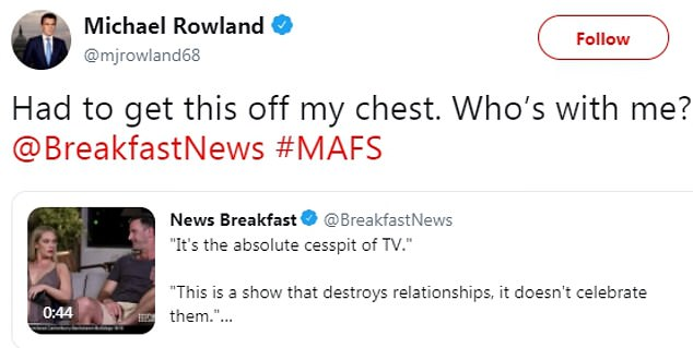 Opinion: In his on-air comments, Michael said MAFS 'encourages cheating and adultery'. He later took to Twitter saying he had 'to get this off' his chest