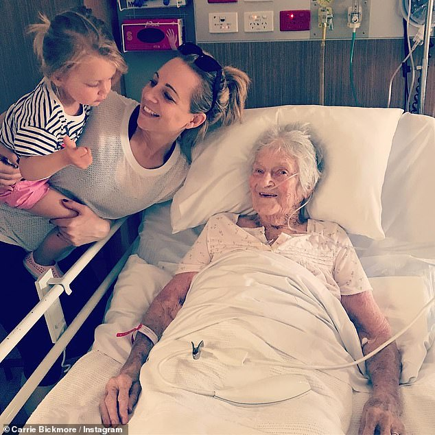 Family: Carrie previously posted photos with her grandparents to Instagram, and once described her grandmother as a 'legend'