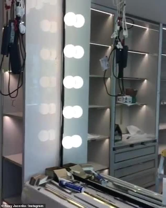 Luxe: Roxy recently showed off footage of the 'beauty/birkin room' in progress at the home