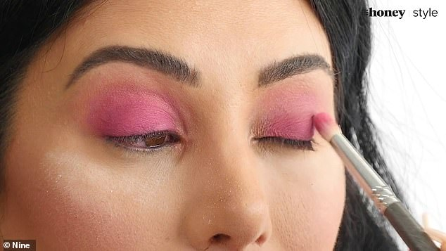 Blending away: Martha then used a matte eyeshadow by Inglot in the colour 269 to deepen the colour in her crease