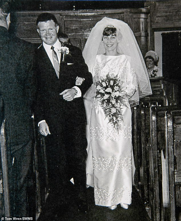Mr and Mrs Garrity married in Britain in 1967 (pictured) and moved to Ghana the day after their wedding day. Palm trees in the box and'Temma harbour' by Mary Hopkin are able to take the couple back to their most precious times