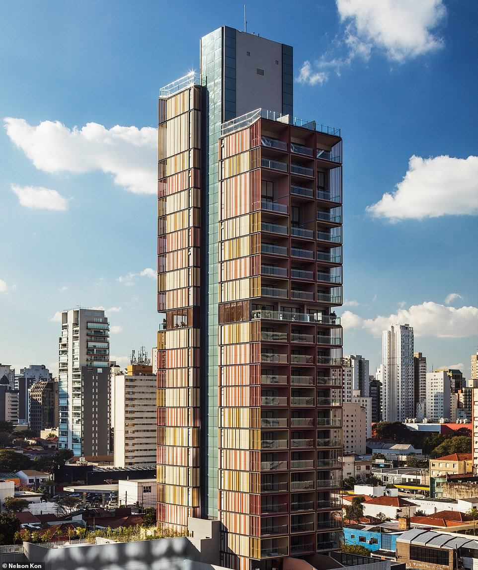 The striking Forma Itaim tower, a residential complex inSão Paulo, won the award for the best tall building under 100 metres thanks to its quirky facade