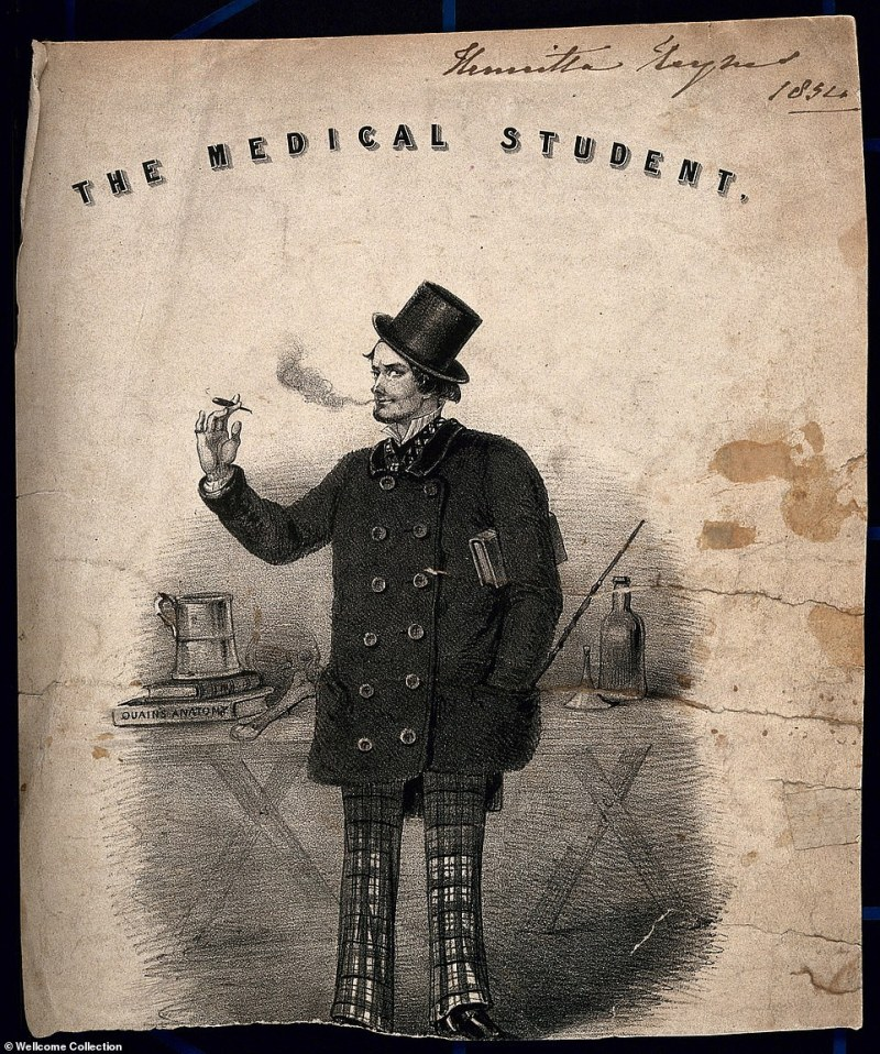 This picture depicts a typical 'medical student' smoking with a tankard. The belief that smoking could ward of disease was rife and persisted for centuries. It became an accessory for medics including surgeons and doctors. Anotmists - biological scientists who study the structure of the body - were advised to spoke to cover the smell of the corpse or to protect from any disease a body may have. It is not clear when this illustration was made, although the date is written 1854