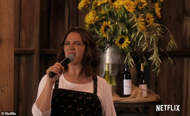 'I want to sing a little diddy for a sweet, very short friend Rebecca, who is turning 22 tomorrow,' Maya's character said as she stepped up to a microphone in a bar
