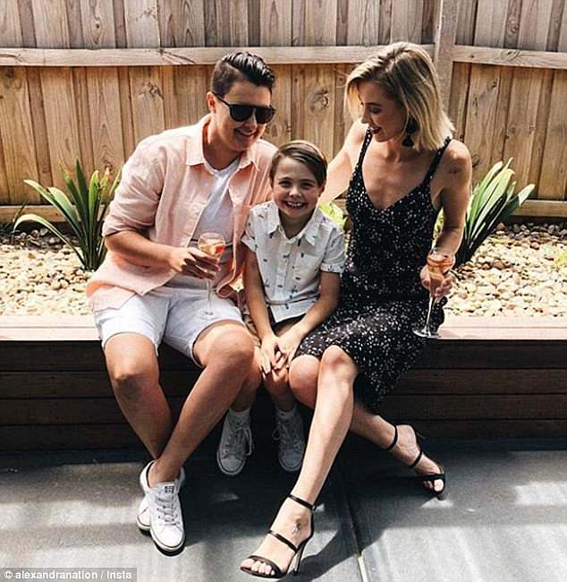 It didn't work out:Alex's last relationship was with female AFL team mate Maegan Luxa, who she was engaged to for less than six months (Pictured: Maegan and Alex with Alex's son)