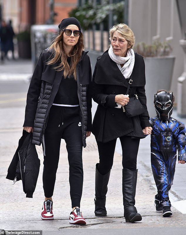 Mom and me! Jessica Biel and her mother Kimberlyspotted enjoying a walk through New York City alongside Jessica's four-year-old son, Silas, who was dressed up as Black Panther