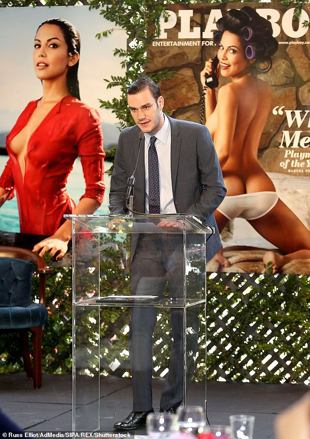 Cooper complained about Playboy a month before his dad's 2017 death saying there's a 'lack of understanding of who we are' after it shifted away from nudity. Cooper Hefner pictured May 2013 honoring Playmate Of The Year Raquel Pomplun