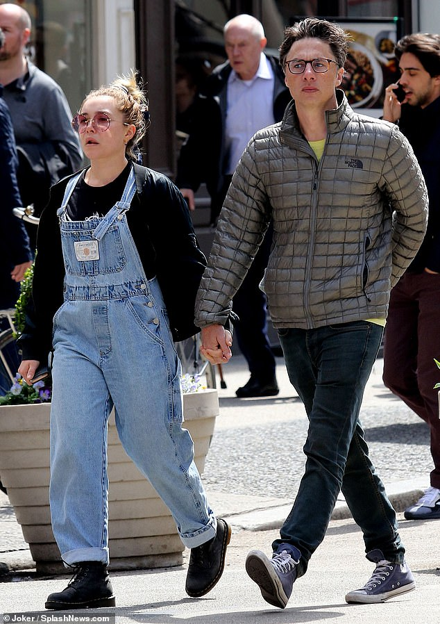 Out and about: Zach Braff was seen strolling hand in hand in New York City with Florence Pugh on Friday amid reports they are to work together