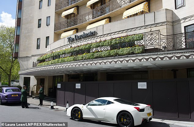 Protest:Last week protestors were thrown out of The Dorchester after three men unfurled banners and staged a protest, after dining in the five-star venue's restaurant (stock photo)