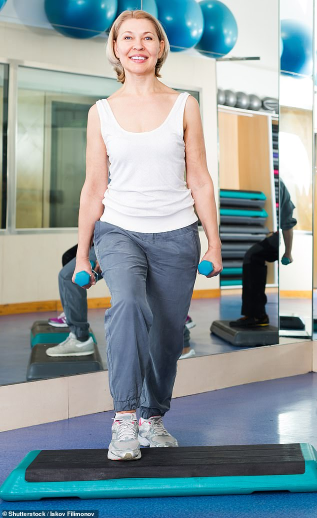 A step-up is a great exercise to ease the pain. You can use equipment (shown), the stairs in your house, front door step, or even the kerb