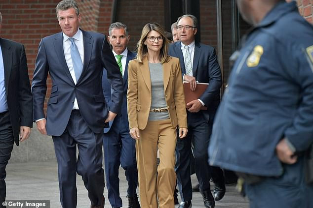 Lori Loughlin (pictured leaving court on April 3) is said to be worrying how a plea may affect both of her daughters' reputations and her relationship with them