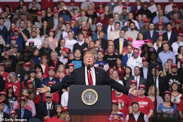 President Donald Trump speaks to supporters during a rally at the Van Andel Arena on March 28, 2019 in Grand Rapids, Michigan. Grand Rapids was the final city Trump visited during his 2016 campaign, and the first suburb Sanders hit up in the 2020 campaign