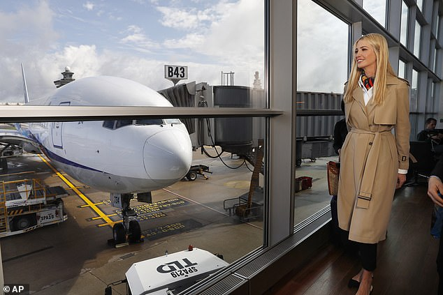 White House senior adviser Ivanka Trump walks past an airplane as she leaves Dulles airport near Washington D.C. en route to Ethiopia and Ivory Coast
