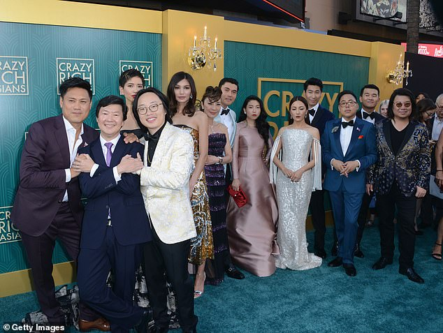 Not his first rodeo: Crazy Rich Asians (cast shot with Chris pictured fourth from right) was not his first break, and his appearance in Australian movie When The War Began was the kick-start to his acting career back in 2010