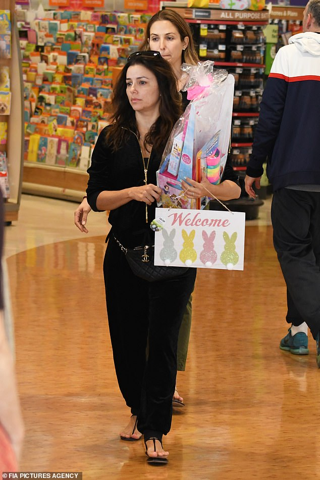 Stepping out:The 44-year-old new mother opted for a casual ensemble and minimal makeup as she headed to the nail salon and went shopping for Easter goodies