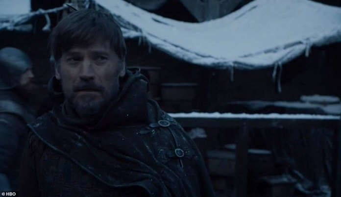Back at Winterfell:Back at Winterfell, a hooded figure arrives on horseback, revealed to be Jaime Lannister, who sees Bran Stark, the boy he threw out of the Winterfell tower in the first episode of the entire series, which crippled him for life