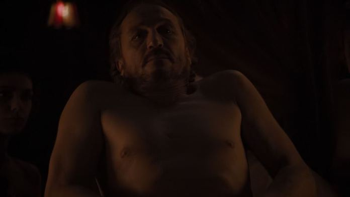 Bronn:When he persists, she says he's executed men for less, but he tells her they were lesser men, and while she turns to leave, she stops, allowing him to join her, as Euron gets his wish after all