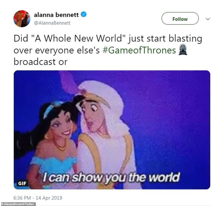 A whole new world: One fan got definite Aladdin vibes from a scene in which Daenerys and Jon rode dragons together