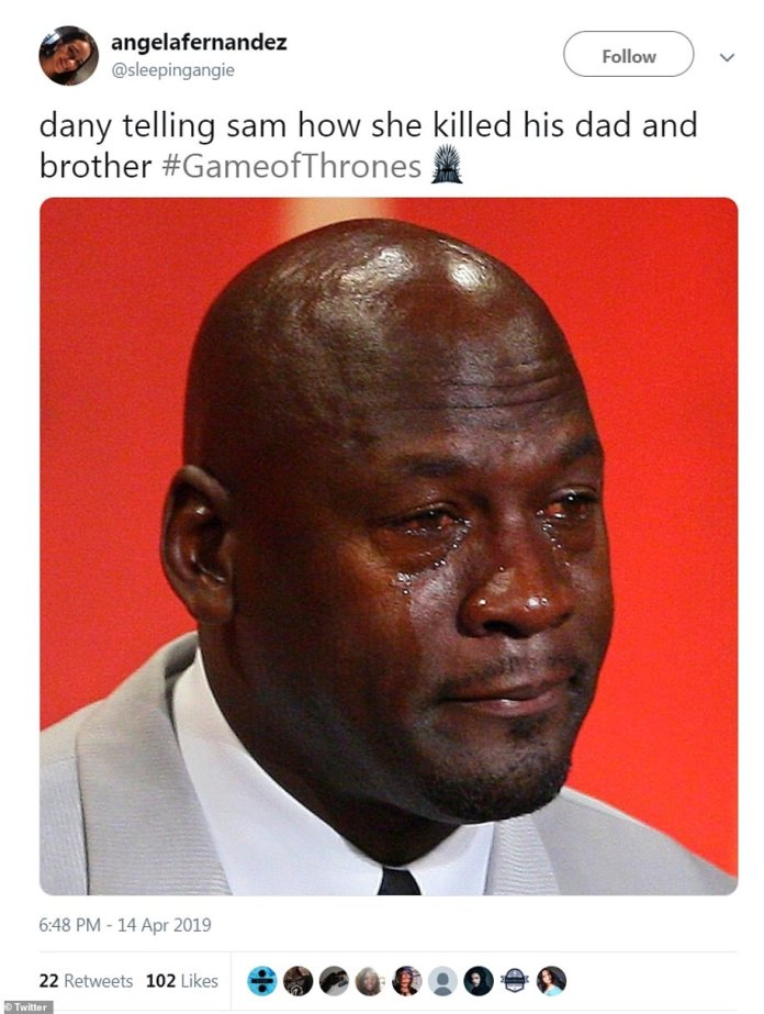 MJ: @sleepingangie also saw the funny side of Daenerys' somewhat callous reveal of his family's demise, likening it to the classic Michael Jordan meme image