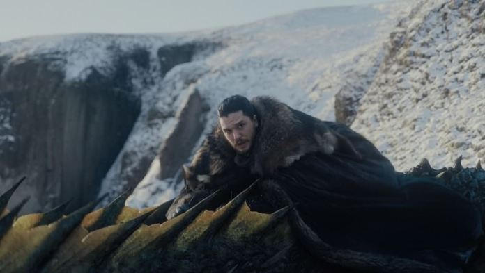 Jon's dragon:Jon ultimately mounts the dragon as it flies off, much to the delight of Daenerys, who takes off with her dragon as well as they fly around Winterfell as Tyrion, Varys and Davos look on in awe