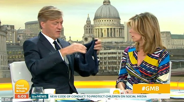 Funny: The Good Morning Britain presenter admitted he couldn't remember the last time he wore pants during Monday's breakfast show