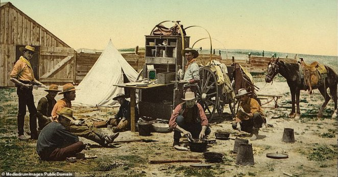 Grub's up for these Wild West pioneers, eating beside their makeshift canteen. The Pike's Peak Gold Rush sent many Americans into a frenzy, prompting them to pack up their belongings and head west to Colorado. These stunning color pictures were produced using a method called photochrom and depict the harsh reality of daily life during the Gold Rush-era