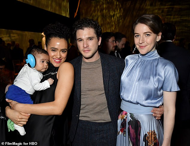 It's back: Gemma attended the season finale premiere in Belfast last week alongside Nathalie Emmanuel, her baby Hector Emmanuel Barnes, and Kit Harrington