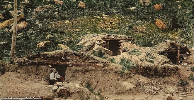 A miner enjoying a smoking break in the entrance to his dug-out rudimentary cabin in the Colorado mountains.African-American settlers also came West from the Deep South, convinced by promoters of all-black Western towns that prosperity could be found there