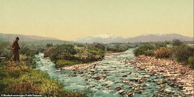 A man fishing on Williams' Fork, Middle Park, in Colorado. Over 100,000 people participated in the Colorado Gold Rush rush and were known as 'Fifty-Niners', a reference to 1859, the year the rush to Colorado peaked. As many as 40,000 were thought to have made the journey at the height of the rush