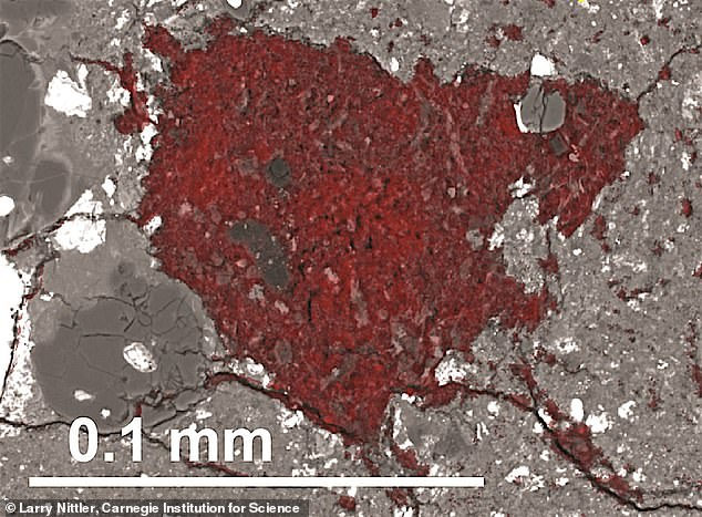 The carbon-rich fragment of the material comets are built from is coloured red in this scanning electron microscope image.Comets contain larger fractions of water ice and far more carbon than asteroids do. Approximately 3.5 million years after the birth of the Sun and planets, the comet material was picked up by the growing asteroid, the study claims