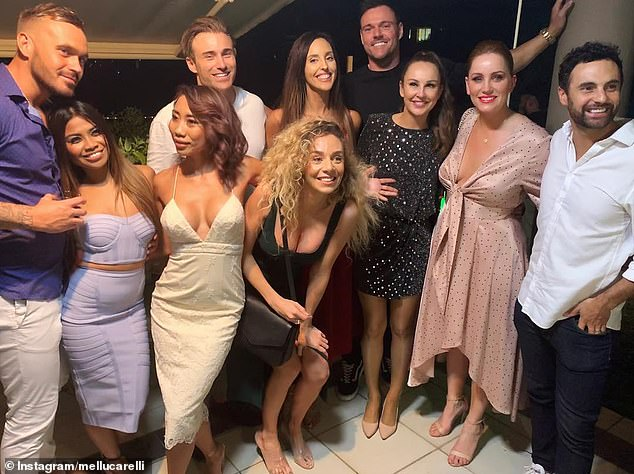 Ruined her night: Cyrell began the night in high spirits but was left in tears after being robbed. Pictured L-R; Eden Dally, Cyrell, Ning Surasiang, Billy Vincent, Elizabeth Sobinoff, Heidi Latcham, Bronson Norrish, Melissa Lucarelli, Jules Robinson and Cameron Merchant on Saturday night