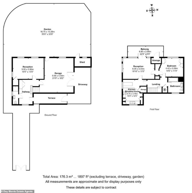 The garden is the same size as the one-bedroom home. On the ground floor is a terrace, large driveway, shed, garage, hall and reception room. There is another reception room on the first foor. The first floor is the main area of the house with a bathroom, bedroom, kitchen/breakfast room, storage and a balcony
