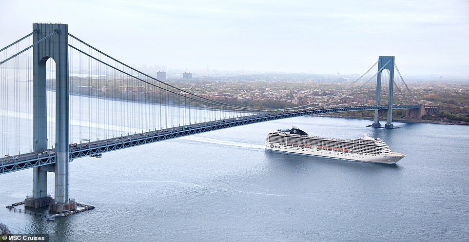 The colossal MSC Orchestra cruise liner, which has 12 passenger decks, enjoys having the waterway to itself as it speeds under theVerrazzano Bridge. The overpassconnects the New York City boroughs of Staten Island and Brooklyn and it has a clearance of 228 feet