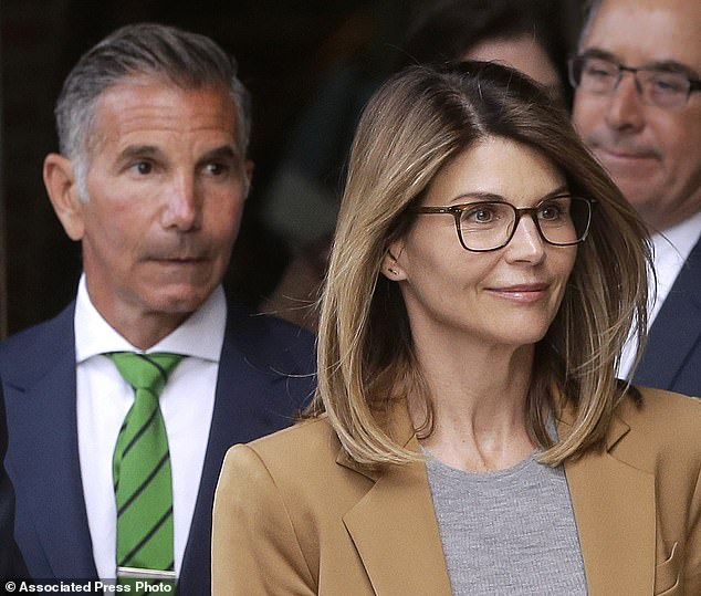 Loughlin and her husband Giannulli (pictured above on April 3, leaving the Federal Court in Boston) said on Monday in court documents that they do not plead guilty to having participated in a wholesale college bribery fraud