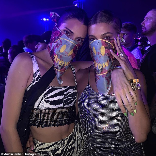 Ready for the show:Justin shared a photo of Kendall Jenner, 23, and Hailey Baldwin on Instagram, showing the ladies wearing matching Drew bandannas over their faces to keep the dust out