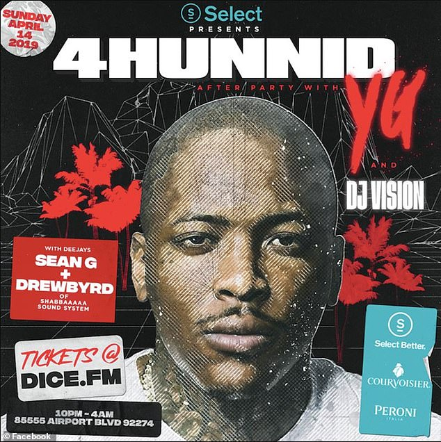 The promotional poster for the party held by YG's record label 4Hunnid pictured above