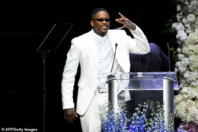 YG pictured above speaking at Hussle's Celebration of Life memorial service on April 11