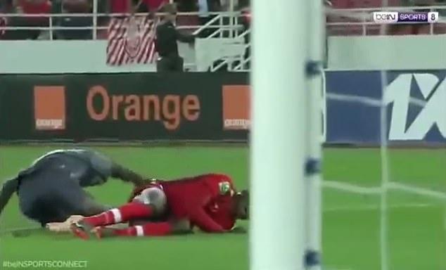 He (left) suffered a double broken leg after colliding with team-mateBoubacar Samassekou